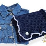 Borsa blu uncinetto, accessori autunno