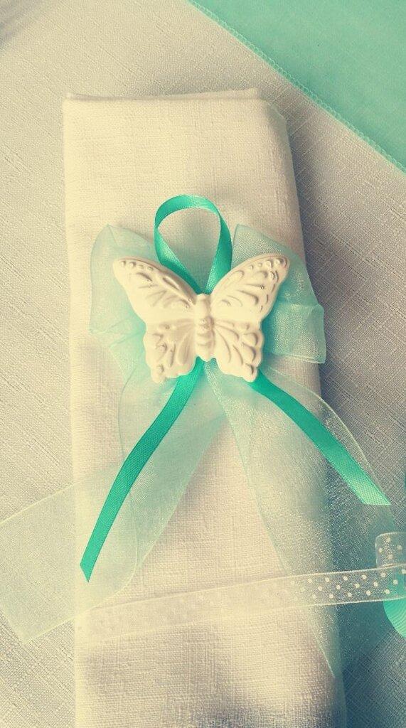 Segnaposto Matrimonio Tiffany.Segnaposto Comunione Farfalla Verde Tiffany Fatto A Mano Feste