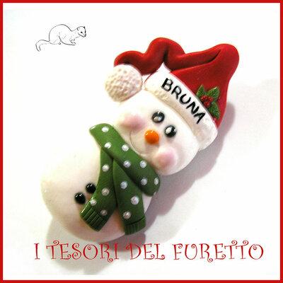 """Spilla Natale """" Pupazzo di neve """" omino fimo personalizzabile con nome idea regalo donna bambina badge"""
