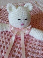 Doudou compagnia in lana merino bianco e rosa