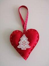 Cuore feltro addobbo natalizio con alberello