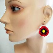 Orecchini con fiori Papavero, earrings, peline, handmade, woman, jewel, accessories,gift ideas, anniversary, holidays