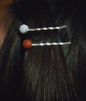 Mollette per capelli in metallo color argento e oro con pietre dure colorate