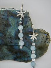 Orecchini pendenti in argento 925 e pietre dure Acquamarina ed Ematite naturali fatti a mano