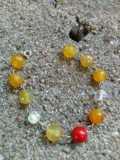 Bracciale  perle di agata gialla perla rossa cristalli trasparenti