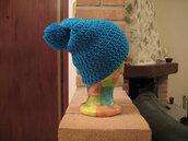 Cappello ragazza azzurro con pompom