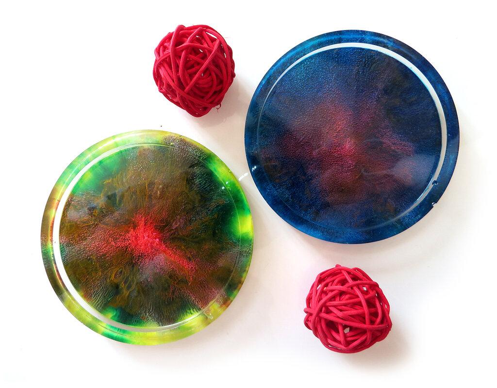 Sottobicchieri eleganti in resina artigianale a forma rotonda