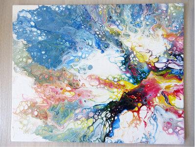Quadro moderno su tela artigianale in acrilico fluido arte astratta unico Boom