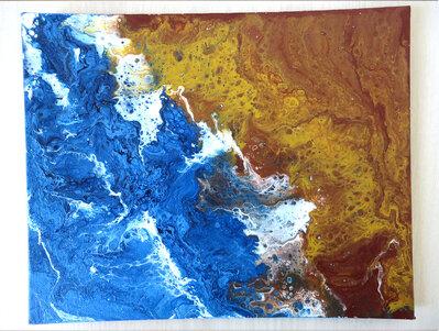 Quadro moderno su tela artigianale in acrilico fluido arte astratta unico Sea