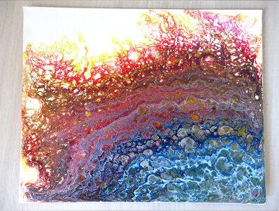 Quadro moderno su tela artigianale in acrilico fluido arte astratta unico Stripe