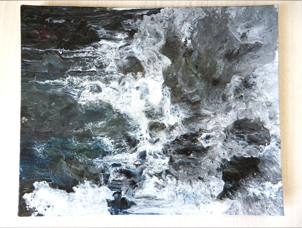 Quadro moderno su tela artigianale in acrilico fluido arte astratta unico Grey