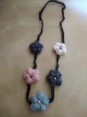 Collane lunghe lana a uncinetto collana boho con fiori idea regalo gioiello tessile fatto a mano