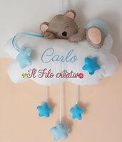 Fiocco Nascita Orsetto con Nuvola con ricamo personalizzato