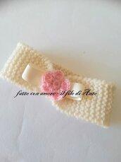 Fascia bambina in pura lana 100% con fiore