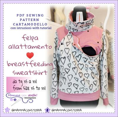 cartamodello maglia felpa allattamento con apertura frontale