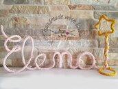 Nome bimbo o bimba realizzato con tricotin illuminato