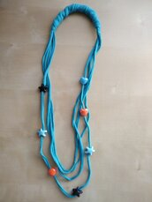 Collana tessuto lunga multifili con perle turchese collana estate regalo ecologica materiali riciclati boho