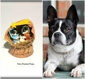 Presepe con cani bulldog francese in fimo nella noce, idea regalo natale per amanti dei cani, miniatura presepe cane per regalo famiglia