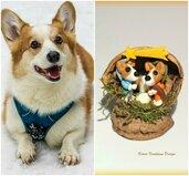 Presepe con cani corgi in fimo nella noce, idea regalo natale per amanti dei cani, miniatura presepe cane per regalo famiglia