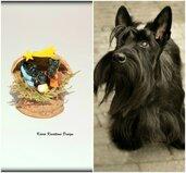 Presepe con cani scottish terrier in fimo nella noce, idea regalo natale per amanti dei cani, miniatura presepe cane per regalo famiglia