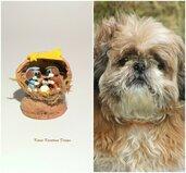 Presepe con cani shih tzu in fimo nella noce, idea regalo natale per amanti dei cani, miniatura presepe cane per regalo famiglia