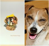 Presepe con cane jack russell in fimo nella noce, idea regalo natale per amanti dei cani, miniatura presepe cane per regalo famiglia