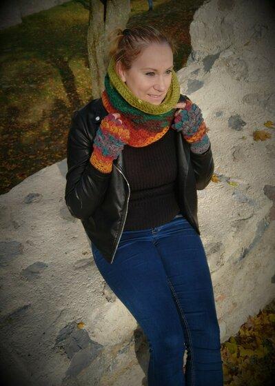 Scaldacollo invernale verde-marrone + guanti