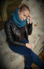 Scaldacollo invernale blu pavone + guanti colorati