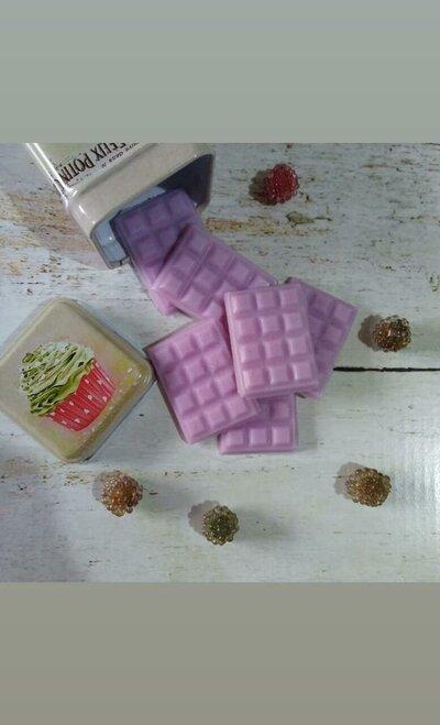Tavoletta di cioccolato ai frutti di bosco in cera di soia