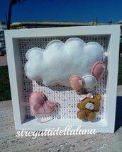 Fiocco nascita bimba in feltro con orsetto  nuvoletta