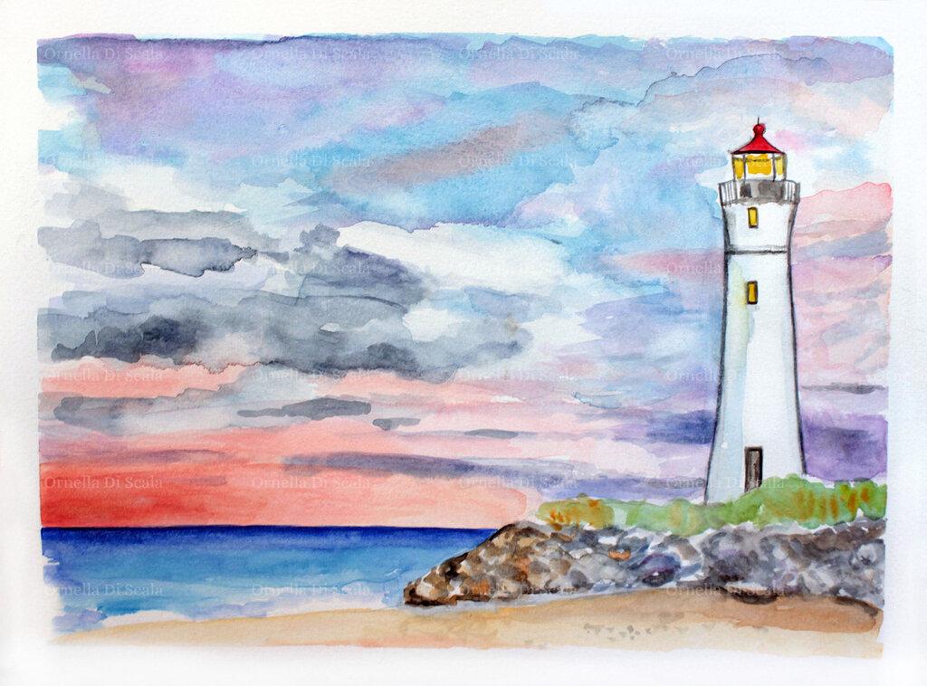 Acquerello faro al tramonto dipinto a mano
