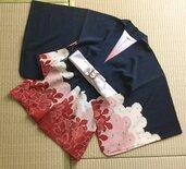 Haori Vintage Kimono giapponese 100%seta ricamato con filo d'oro