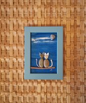 Coppia di gatti su ramo - Quadro in pietre su legno - Tecnica Pebble's Art. Artista Antonio Ruffo