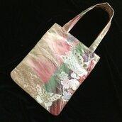 Borsa 100%seta in tessuto elegante giapponese di Obi (fascia del kimono) [Farfalla argento]/misura A4, spartito musicale