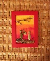 Nascita di un bimbo - Quadro in pietre su legno - Tecnica Pebble's Art. Artista Antonio Ruffo