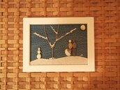 Coppia di amanti sulla neve - Quadro in pietre su legno - Tecnica Pebble's Art. Artista Antonio Ruffo