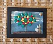 Coppia di amanti - Quadro in pietre su legno - Tecnica Pebble's Art. Artista Antonio Ruffo