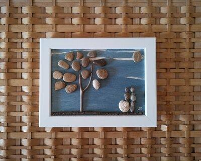 Coppia di amanti #01 - Quadro in pietre su legno - Tecnica Pebble's Art. Artista Antonio Ruffo