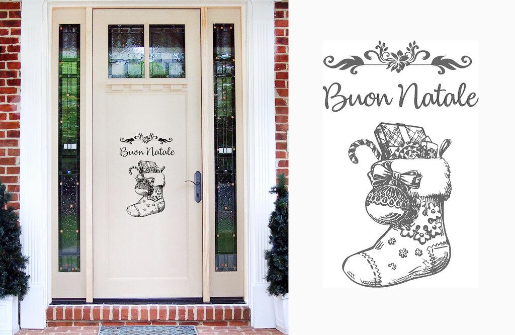 Adesivo natalizio calzetta con scritta