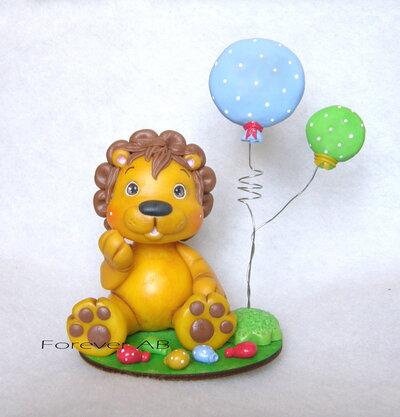 Cake topper leone leoncino Animaletti nascita battesimo primo compleanno bambino bimbo