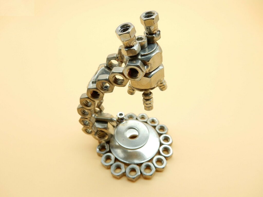 biologia , microbi biologo ,ricercatore,microscopio ,regalo biologo ,regalo laurea ricercatore art metal sculpture riciclo Metal sculpture
