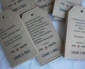 Tags-etichette-targhette per  bomboniere bottiglie vino personalizzati