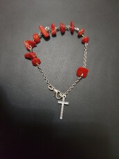 Braccialetto decina rosario con grani in corallo bambù