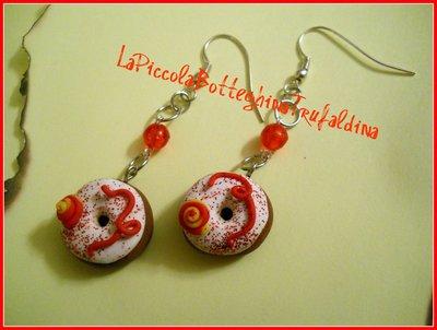 orecchini donuts rosso