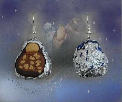 Orecchini baci perugina cioccolatini in fimo