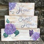 """Quadro su Tavola Di Legno Pallet """"Home Sweet Home"""" Ortensie.Fiori.Shabby Chic."""