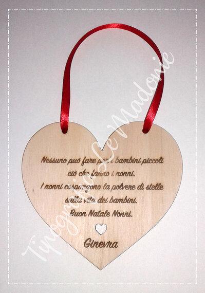 Cuore in legno da appendere con dedica per i nonni
