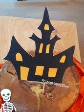 Cake topper casa stregata halloween decorazioni torta bambini,addobbi Halloween tavolo torta,decorazione dolci,festa a tema,zucca,fantasma,teschio,castello,arancione nero