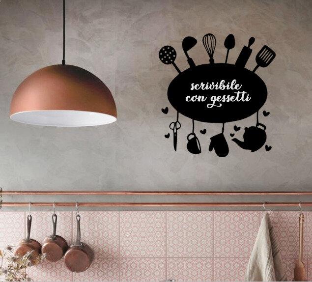 Lavagna adesiva ovale con utensili cucina