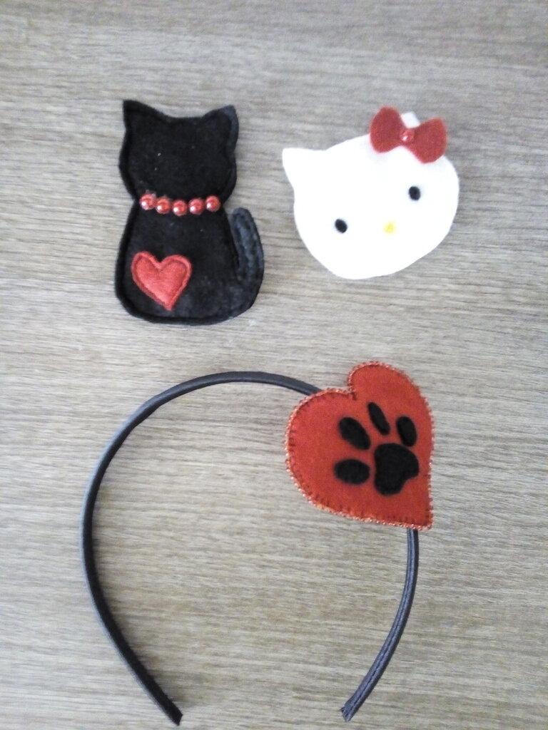 Cerchietto 3 in 1- gatti nero bianco rosso